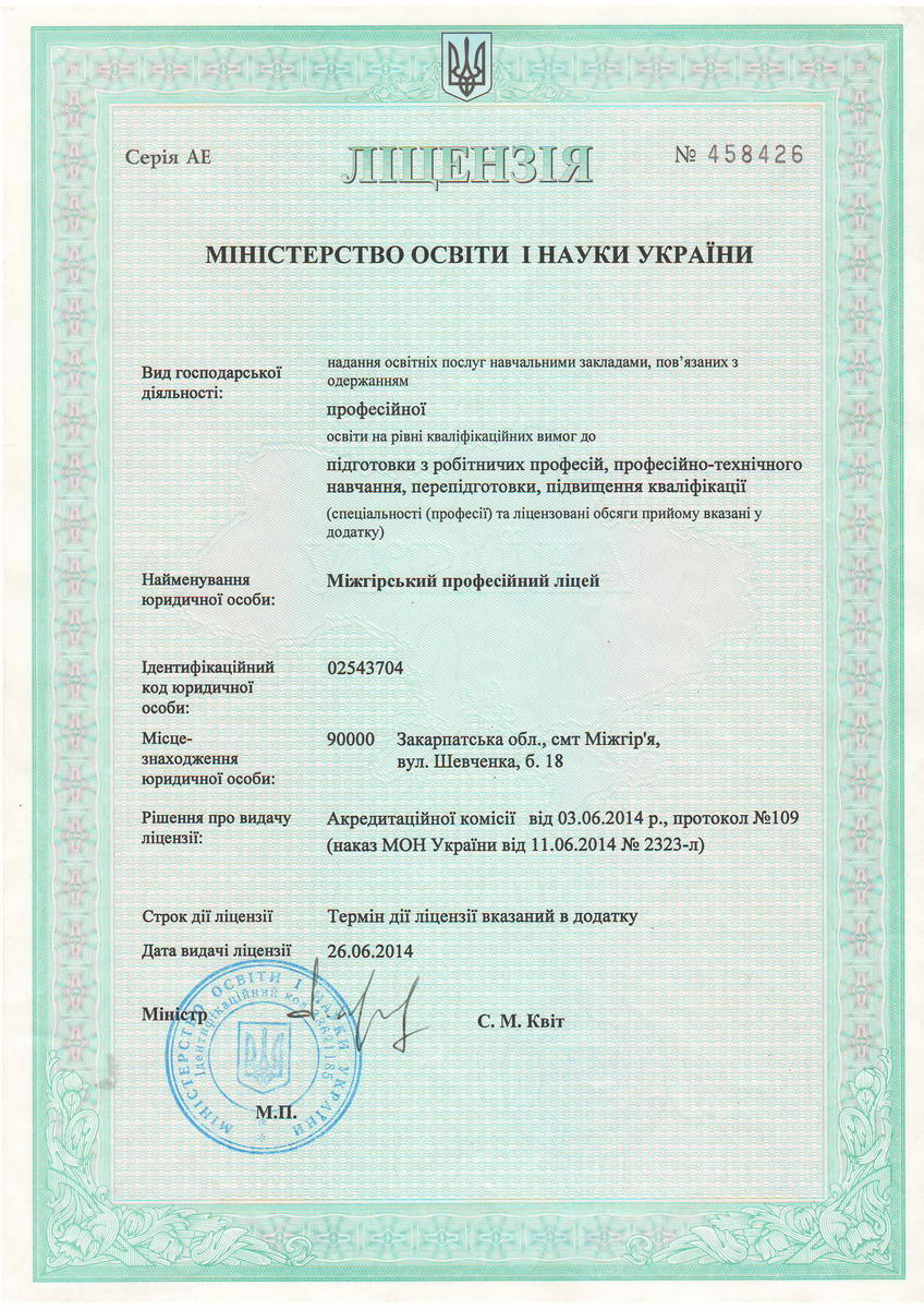 Ліцензія міністерства освіти і науки України на надання освітніх послуг навчальним закладам, пов'язаних з одержанням професійної освіти